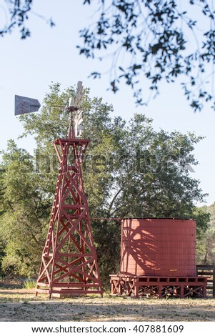 Windmill Powered Water Pump - stock photo