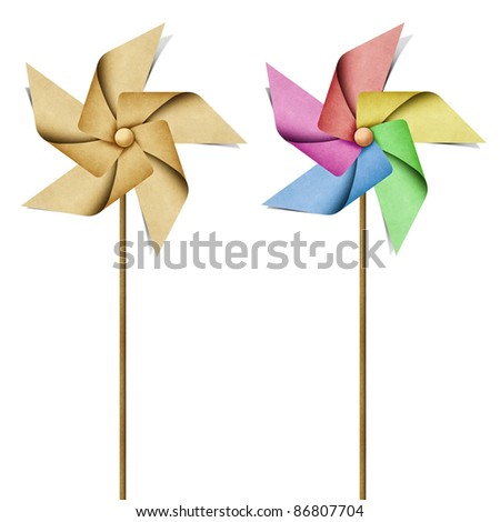 windmill recycled papercraft on white background - stock photo