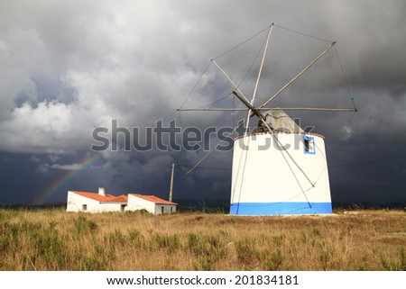 Windmill, Rogil, Portugal  - stock photo