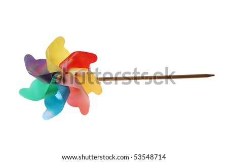 windmill toy with white background - stock photo