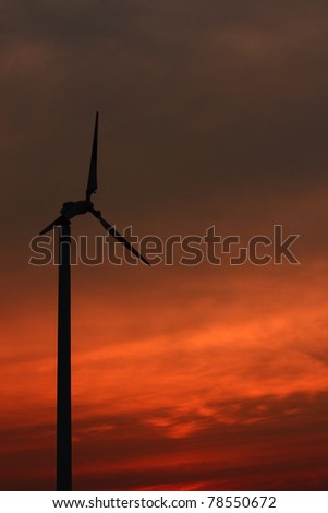 Windmill with the colorful sky