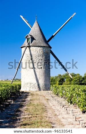 windmill with vineyard near Blaignan, Bordeaux Region, France - stock photo