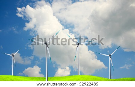 Windmills against a blue sky