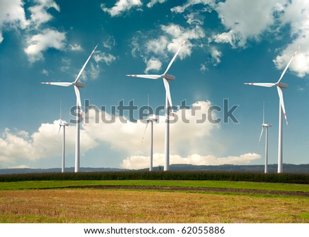 Windmills - alternative energy - stock photo