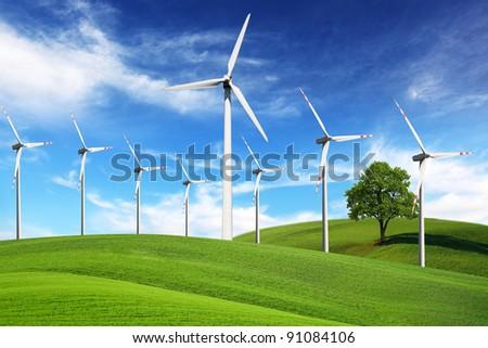 Windmills, alternative energy - stock photo