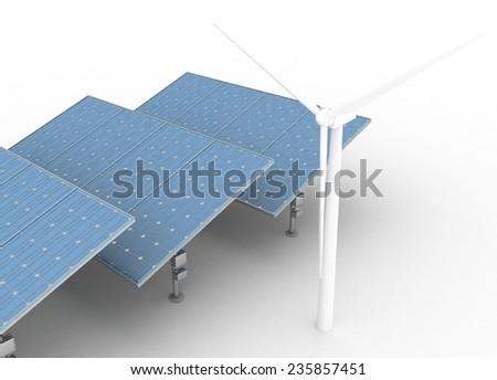 Windmills and Solar Panels. Alternative Energy Concept. - stock photo