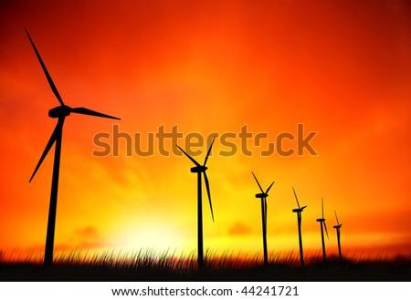 windmills and sunset - stock photo