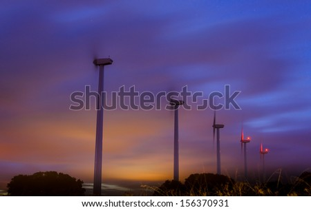 windmills at night in Spain, near to Madrid. - stock photo
