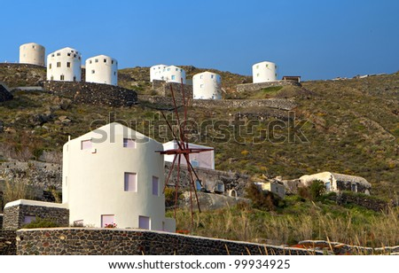 Windmills at Santorini island in the cyclades, Greece - stock photo