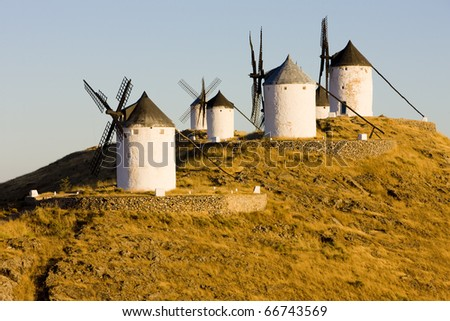 windmills, Consuegra, Castile-La Mancha, Spain - stock photo