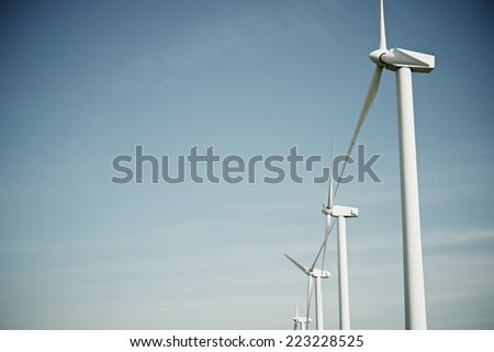 Windmills for electric power production, Pozuelo de Aragon, Zaragoza ...
