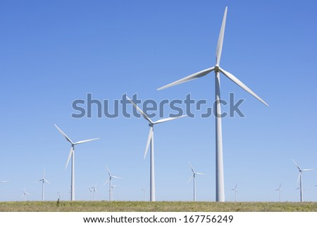 windmills for  electric power production, Tardienta, Huesca, Aragon, Spain - stock photo