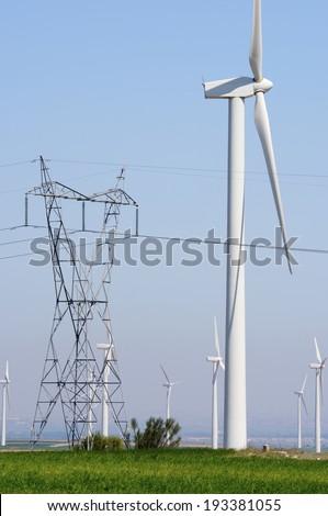 Windmills for electric power production,Zaragoza Province, Aragon, Spain - stock photo