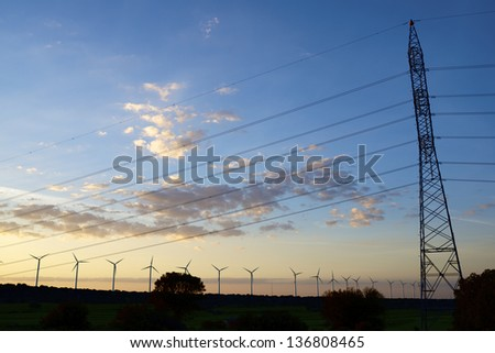 windmills for removable energy production and pylon