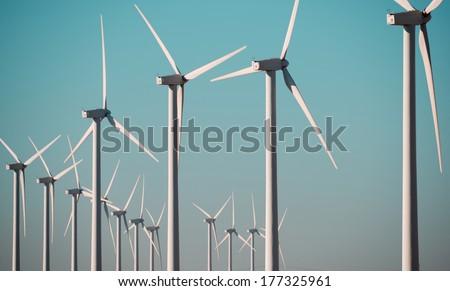Windmills for renewable electric energy production, Pozuelo de Aragon, Zaragoza, Aragon, Spain - stock photo