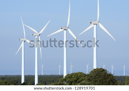 windmills group for renewable electric energy production - stock photo