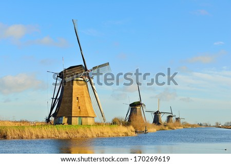 Windmills in Holland - stock photo