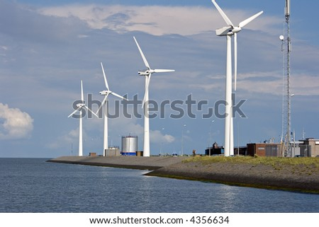Windmills in Holland - stock photo