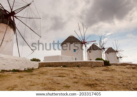 Windmills in Mykonos city - stock photo
