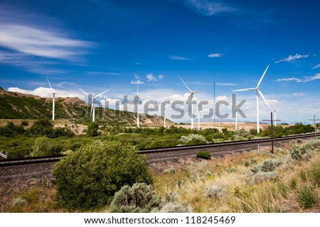 Windmills in Spanish Fork Canyon Utah - stock photo