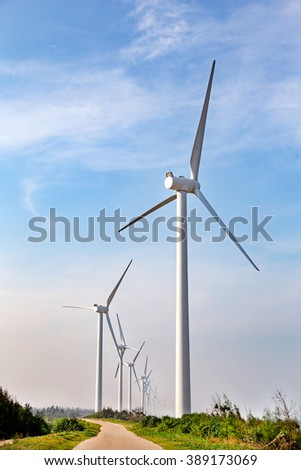 Windmills in the blue sky background