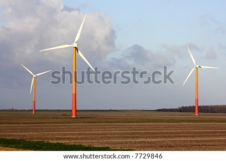 Windmills in the countryside in the Netherlands