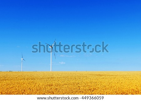 Windmills in the golden wheat field.Copy space