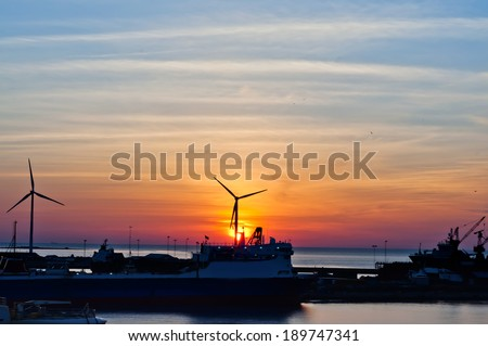 Windmills in the Harbour, Frederikshavn - stock photo