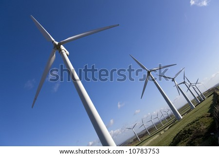 Windmills in windfarm - stock photo