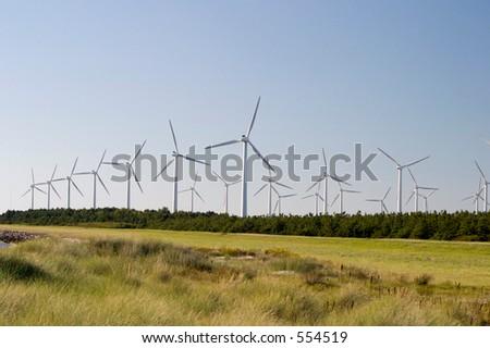 Windmills near Roedby, Denmark - stock photo