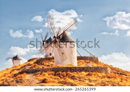 Windmills of Consuegra in the La Mancha region of central Spain - stock photo