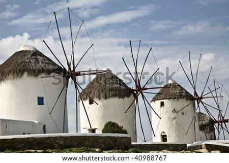 Windmills of Mykonos - stock photo