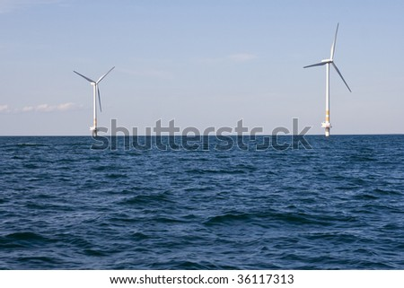 Windmills on a sea nearby Oland Island in Sweden
