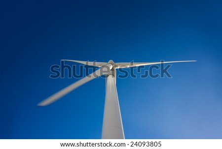 Windmills on Blue Sky, Looking Up at Blades, Future of Alternative Energy