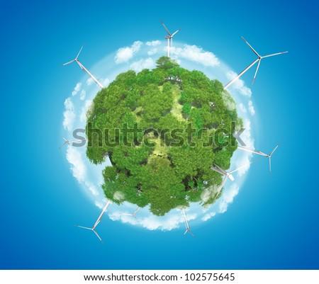 Windmills on Earth Planet (Alternative Energy Concept) - stock photo