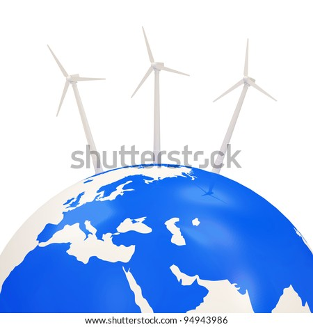 Windmills on Earth Planet isolated on white background (Alternative Energy Concept) - stock photo