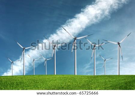 Windmills on the sky - stock photo