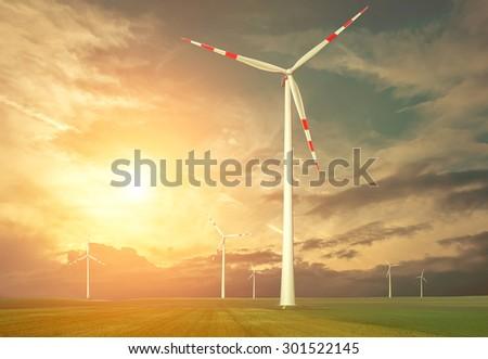 Windmills outdoor under sky. - stock photo