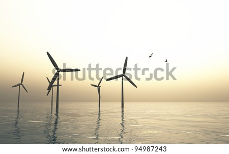 Windmills over soft sea with flying eagles