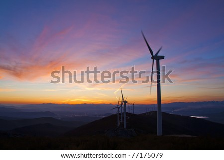 windmills sun set