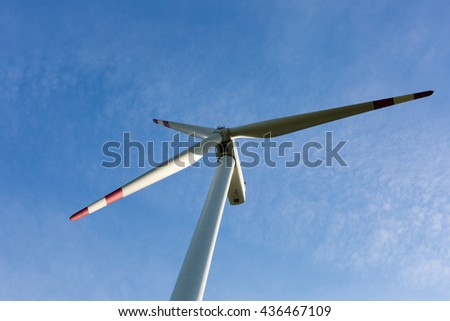 Windmills with beautiful blue sky, ecology