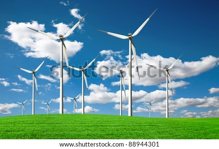 Windmills with Blue Sky