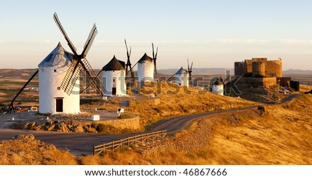 windmills with castle, Consuegra, Castile-La Mancha, Spain - stock photo