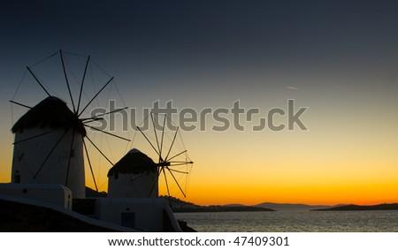 Windmils of Mykonos Island, Greece - stock photo