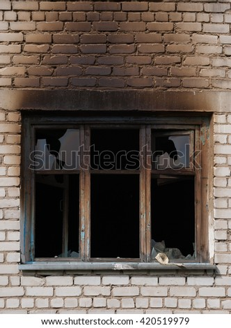 window after fire - stock photo