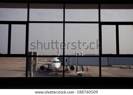 Window airport  - stock photo