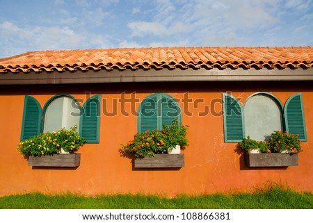 Window and flower box - stock photo