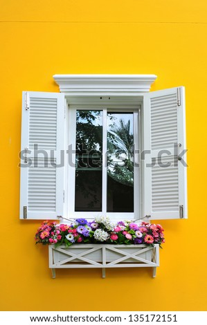 window and flowerbox - stock photo