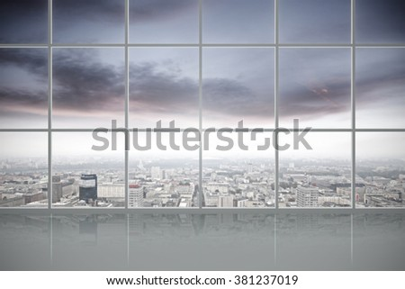window and gray floor  - stock photo