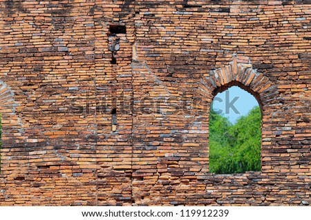 window and old brick walls - stock photo